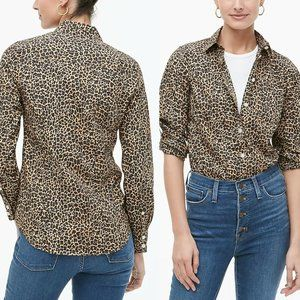 J. Crew Button up Leopard Shirt Perfect Fit HW8673